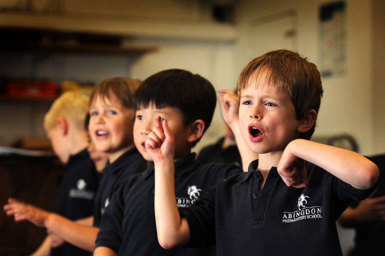 Abingdon Prep pupils in music lesson