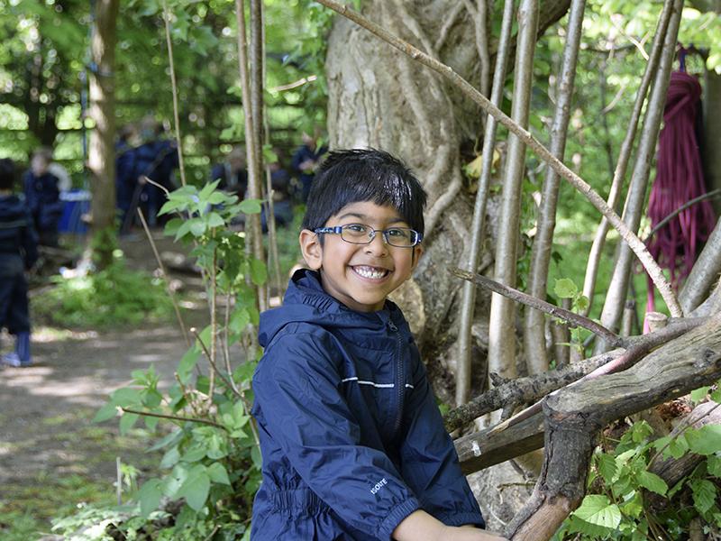 Abingdon Prep pupil in forest school