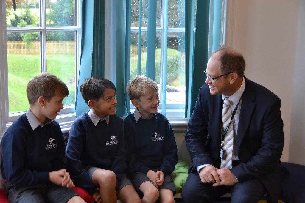 Abingdon Prep Headmaster with pupils