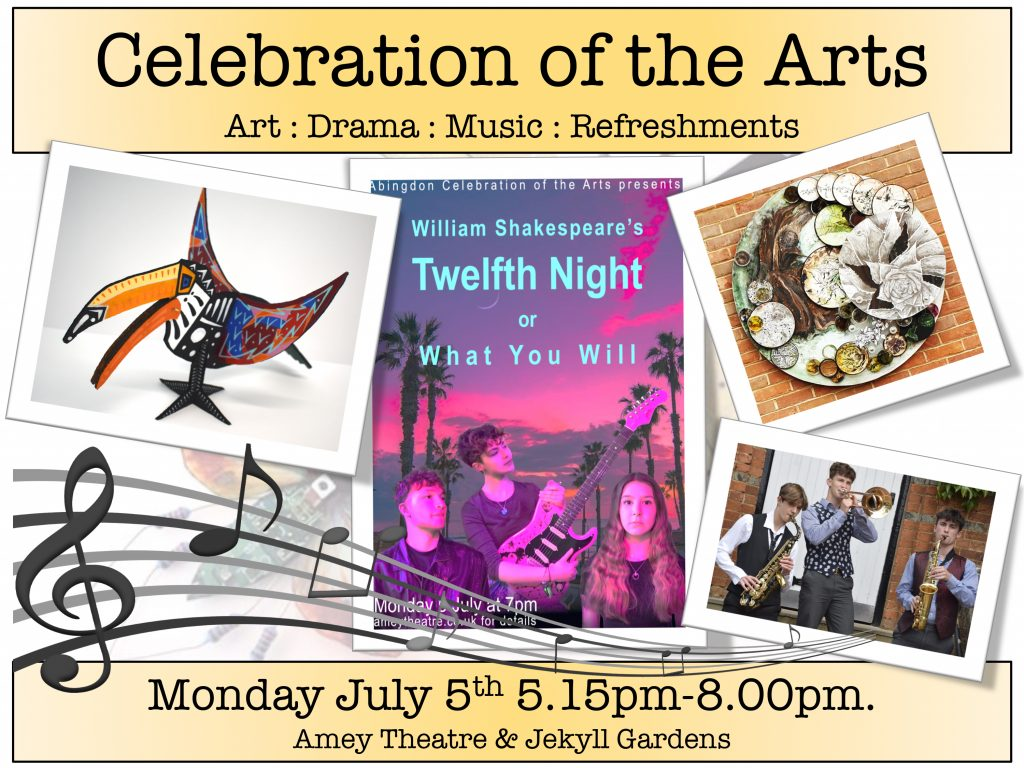 Pictures of Abingdon School students' work: A Level artwork, Twelfth Night production poster and musicians.