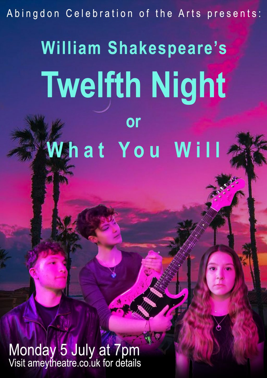 3 students from Abingdon and SHSK schools pose with an electric guitar in front of a pink sunset with palm trees.