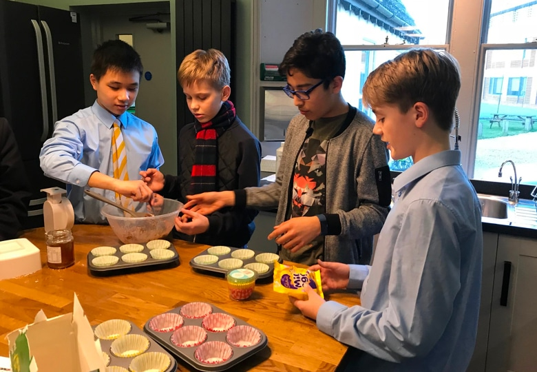 Abingdon School boarding pupils cooking together