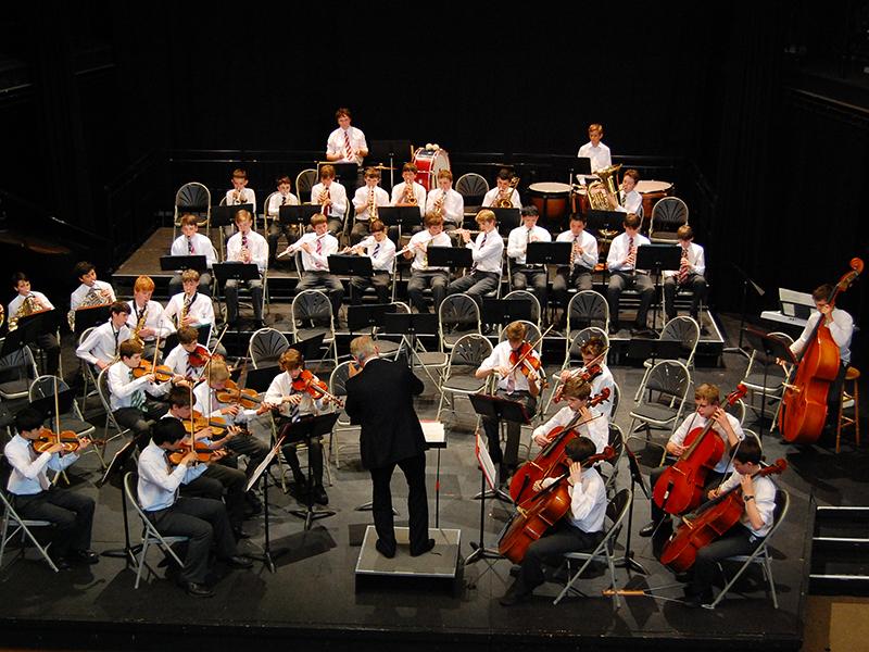 Abingdon School orchestra in the Amey Theatre