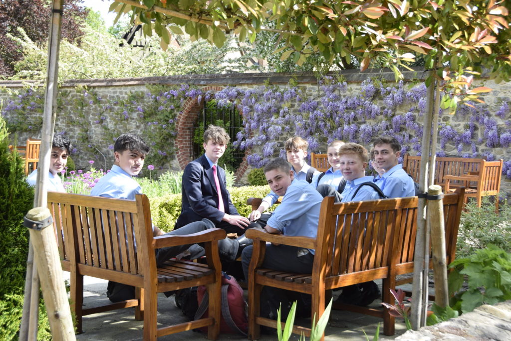 Abingdon School pupils in garden