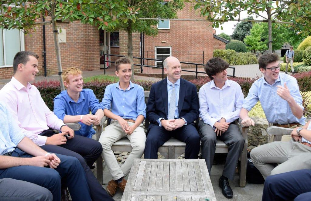 Abingdon School pupils with Headmaster