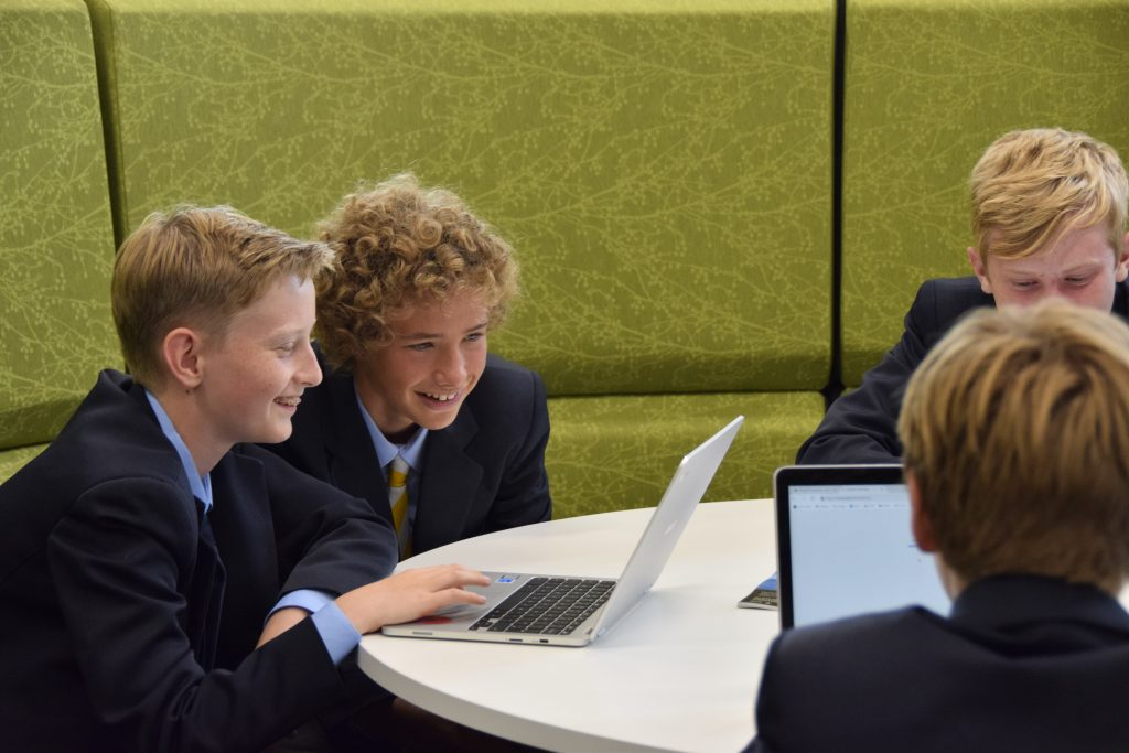 Abingdon School pupils working in the library