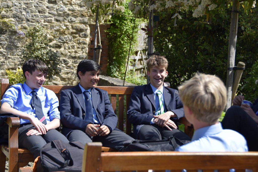 Abingdon School pupils talking outside