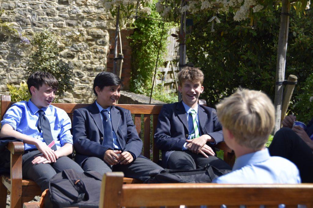 Abingdon School pupils socialising outside