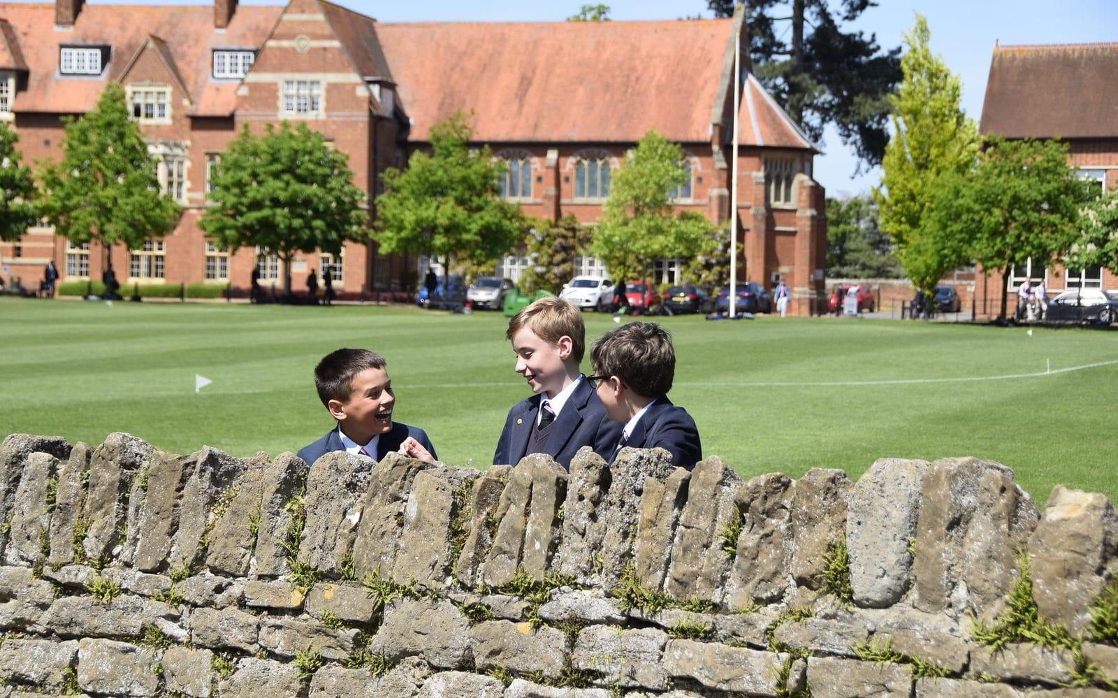 Abingdon School pupils outside talking