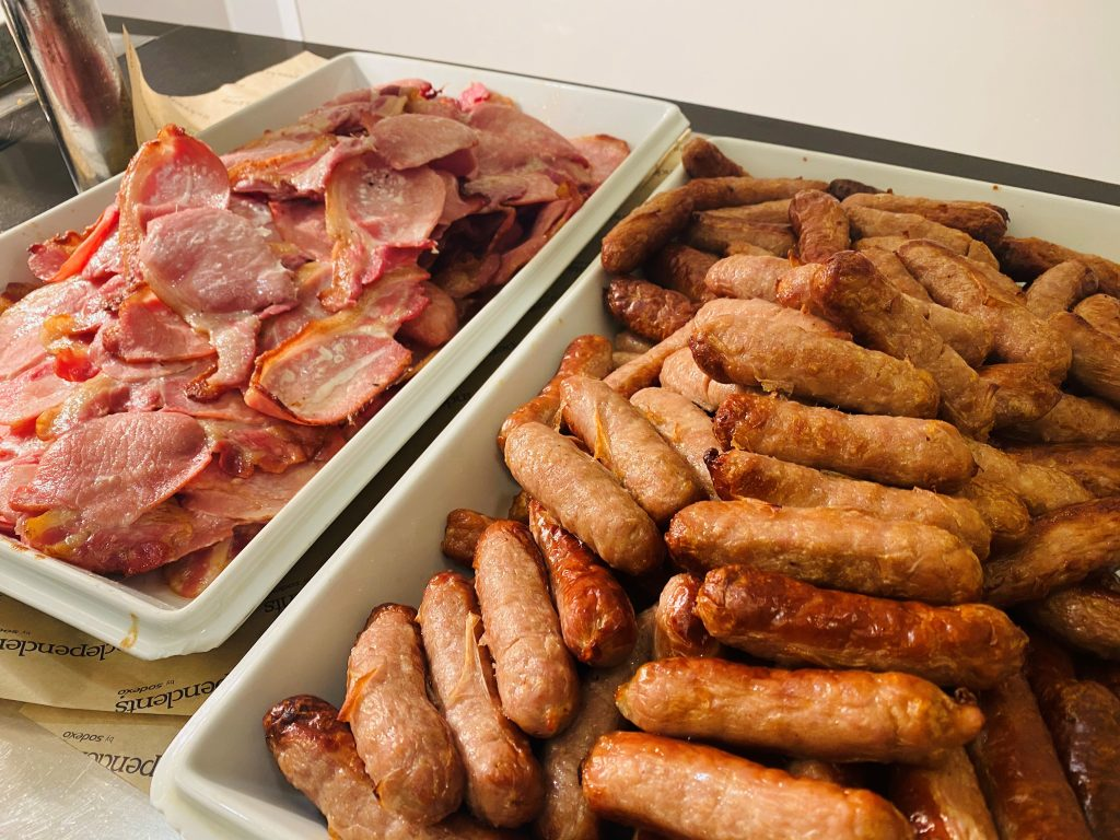 Abingdon School catering - sausages and bacon