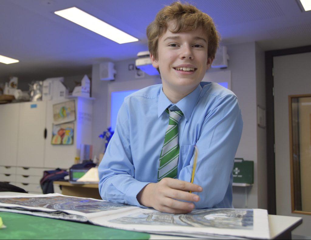 Abingdon School pupil in art lesson